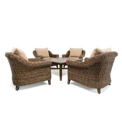 Bahamas Wicker 5-Piece Outdoor Seating Set with Sunbrella Canvas Heather Beige Cushion