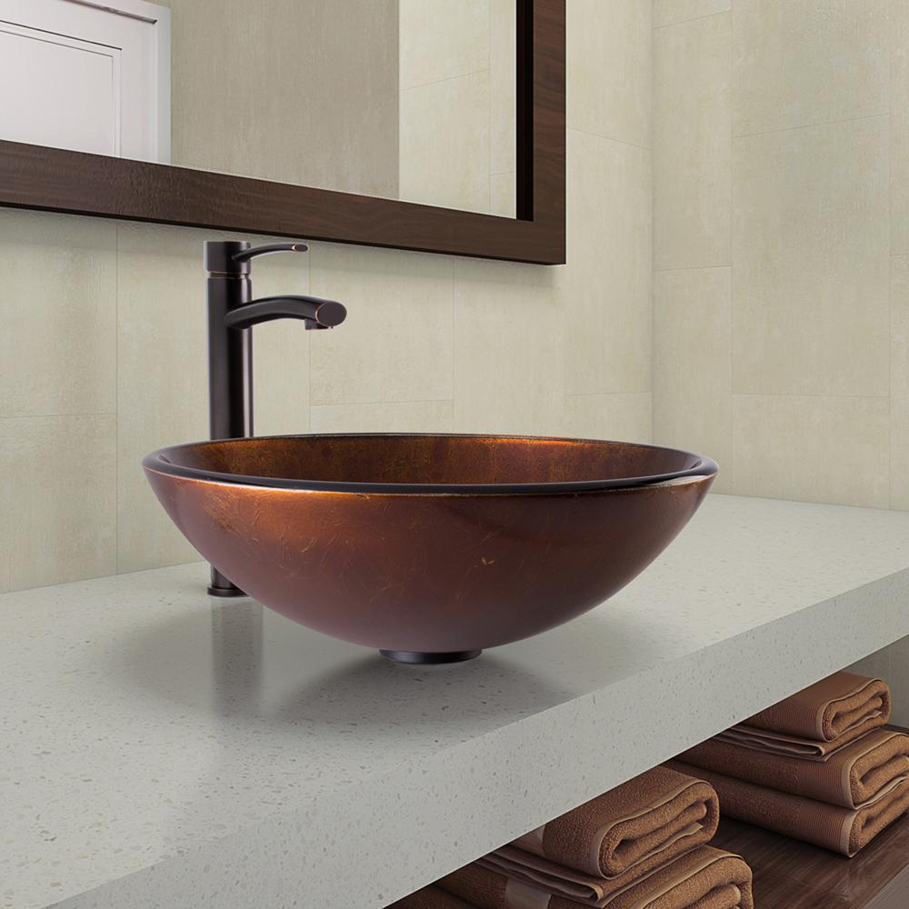 Merveilleux VIGO Vessel Sink In Russet And Milo Faucet Set In Antique Rubbed Bronze