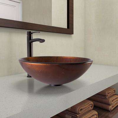 Vessel Sink in Russet and Milo Faucet Set in Antique Rubbed Bronze
