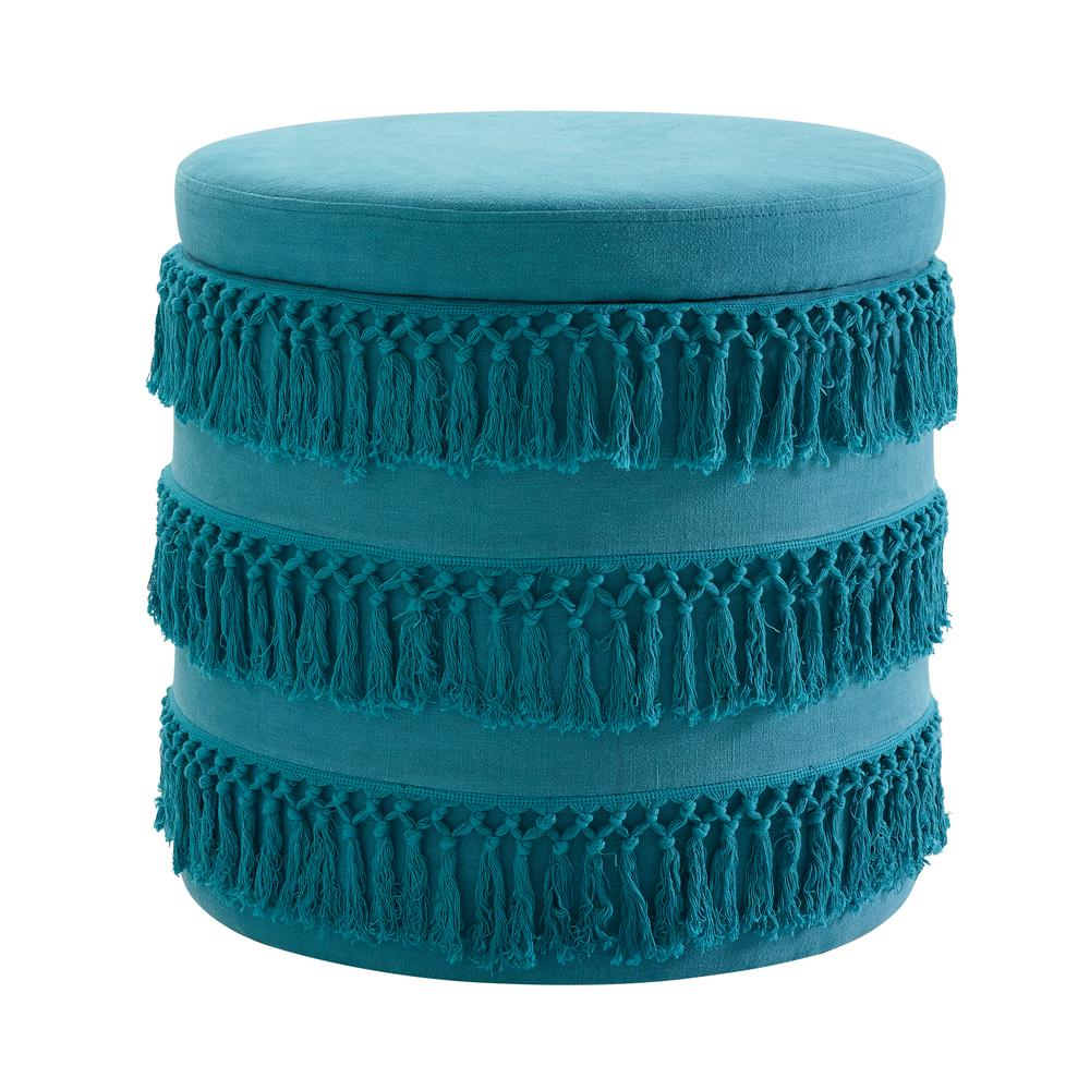 Home Decor Trim: Linon Home Decor Evie Blue Fringe Ottoman-THD01810