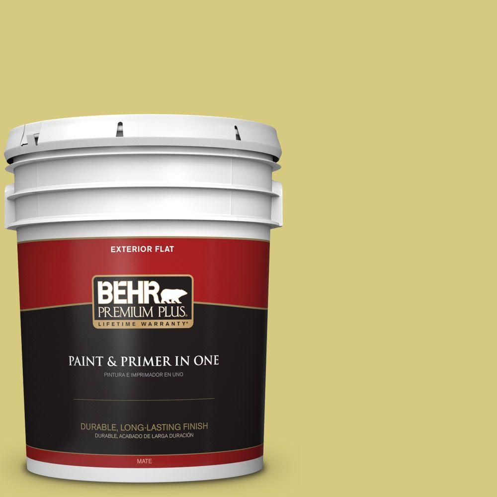 BEHR Premium Plus 5-gal. #P350-4 Spring Grass Flat Exterior Paint