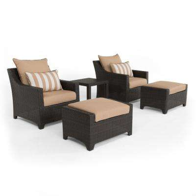 Deco 5-Piece All-Weather Wicker Patio Club Chair and Ottoman Seating Set with Maxim Beige Cushions