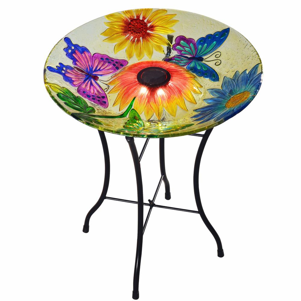 Peaktop 18 in. Glass Butterfly Outdoor Fusion Solar Birdbath with Stand
