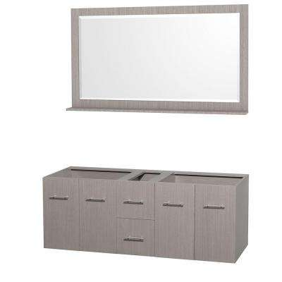 Centra 59 in. Double Vanity Cabinet with Mirror in Gray Oak