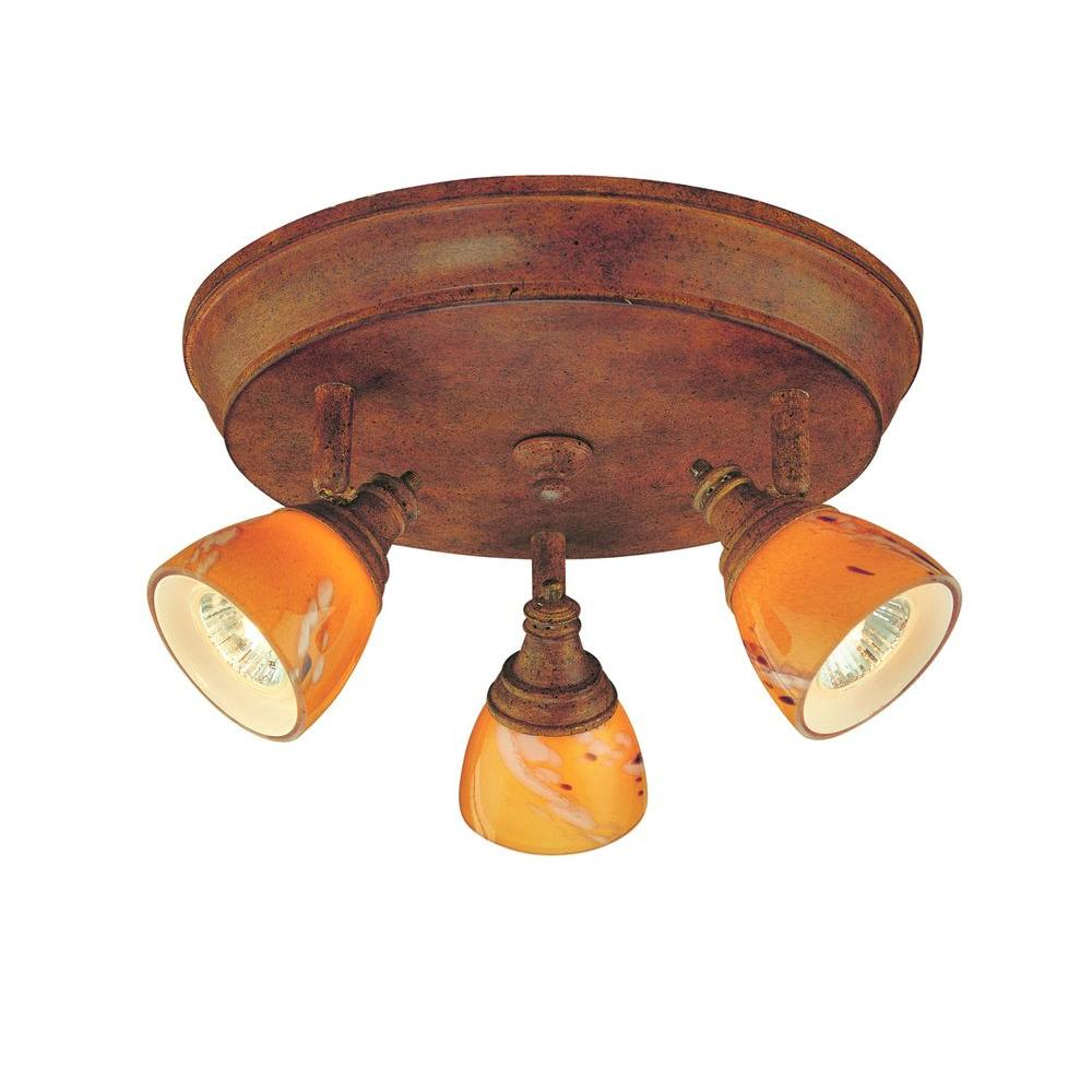 Hampton Bay 3-Light Walnut Ceiling Track Lighting Fixture with Art Glass Shades