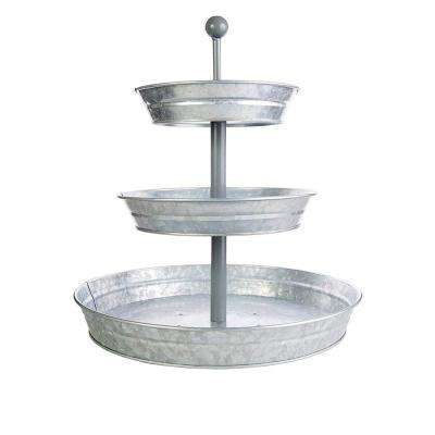 Galvanized Gray Metal 3-Tiered Round Serving Tray