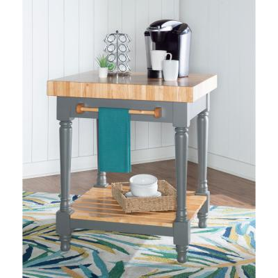 Grey Preston Kitchen Island without Wheels
