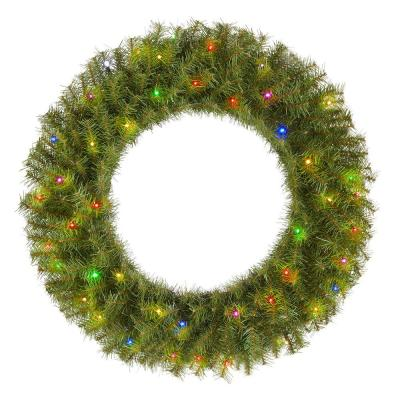 32 in. Norwood Fir Artificial Wreath with Multi-LED Light
