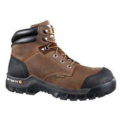 Rugged Flex Men's 11W Brown Leather Waterproof Composite Safety Toe 6-inch lace-up Work Boot CMF6380