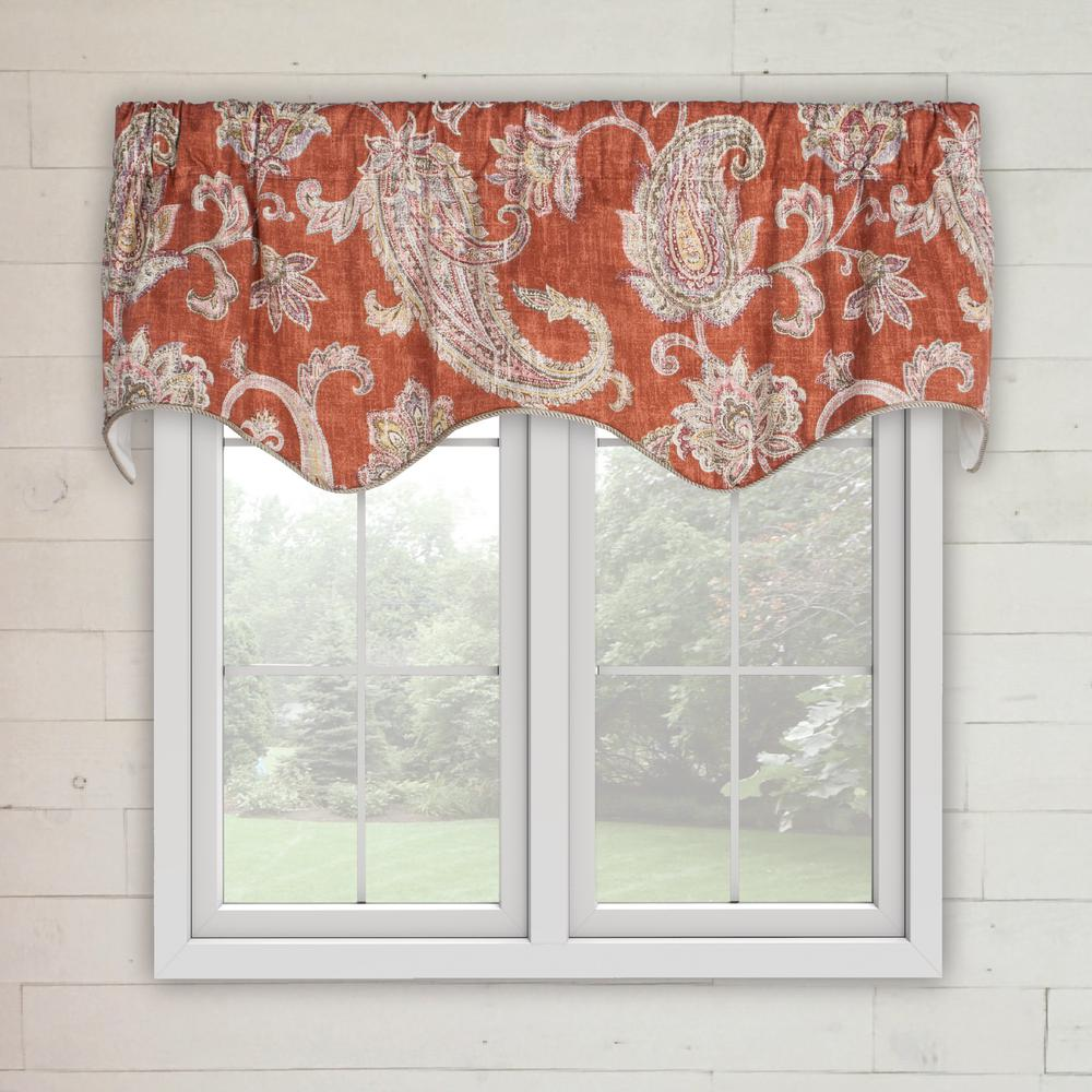 marvelous Ellis Valance Part - 5: Ellis Curtain Malang 15 in. L Cotton LIned Scallop Valance in Ruby