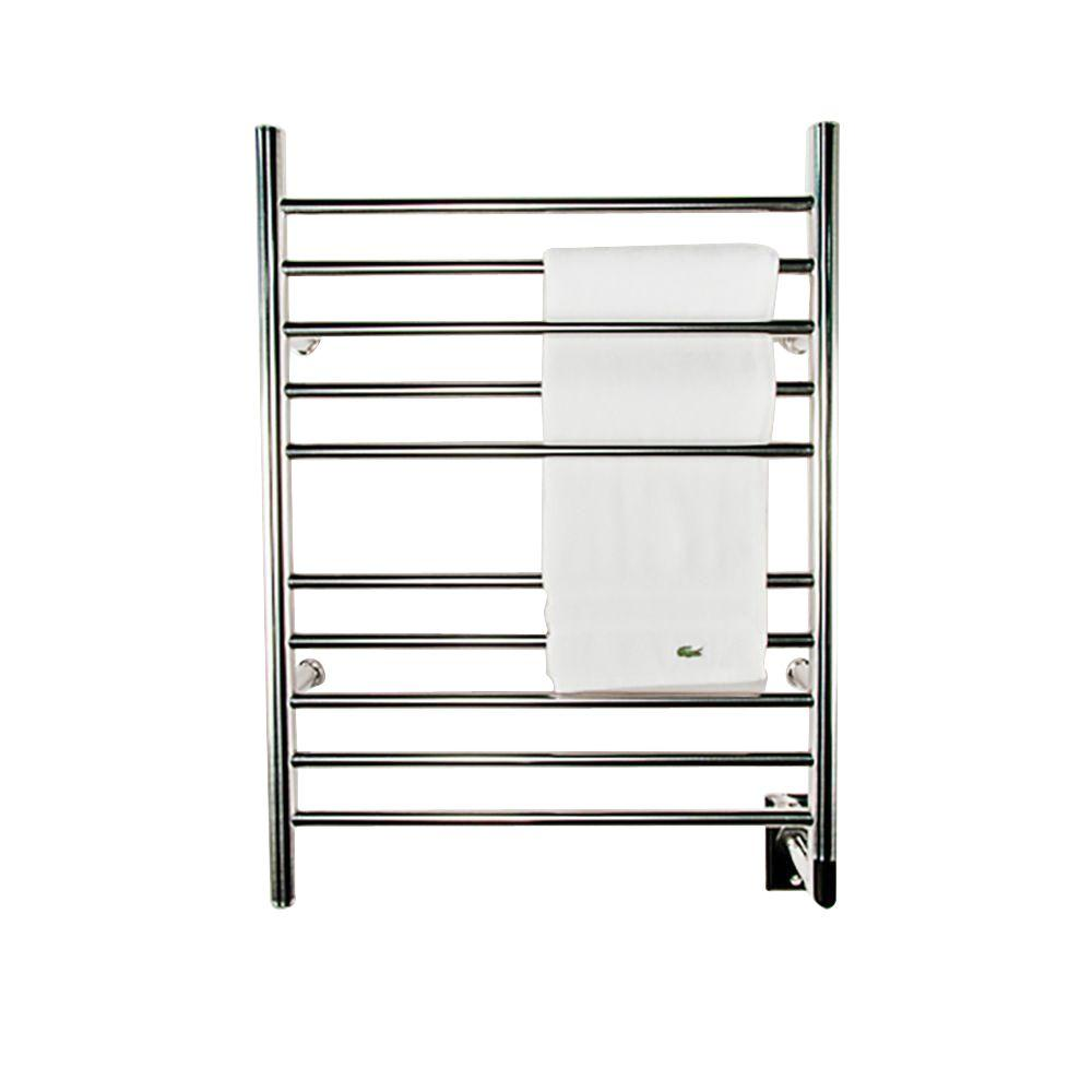 Amba Radiant Straight Hardwired 24 in. W x 32 in. H 10-Bar Electric Towel Warmer in Polished Stainless Steel