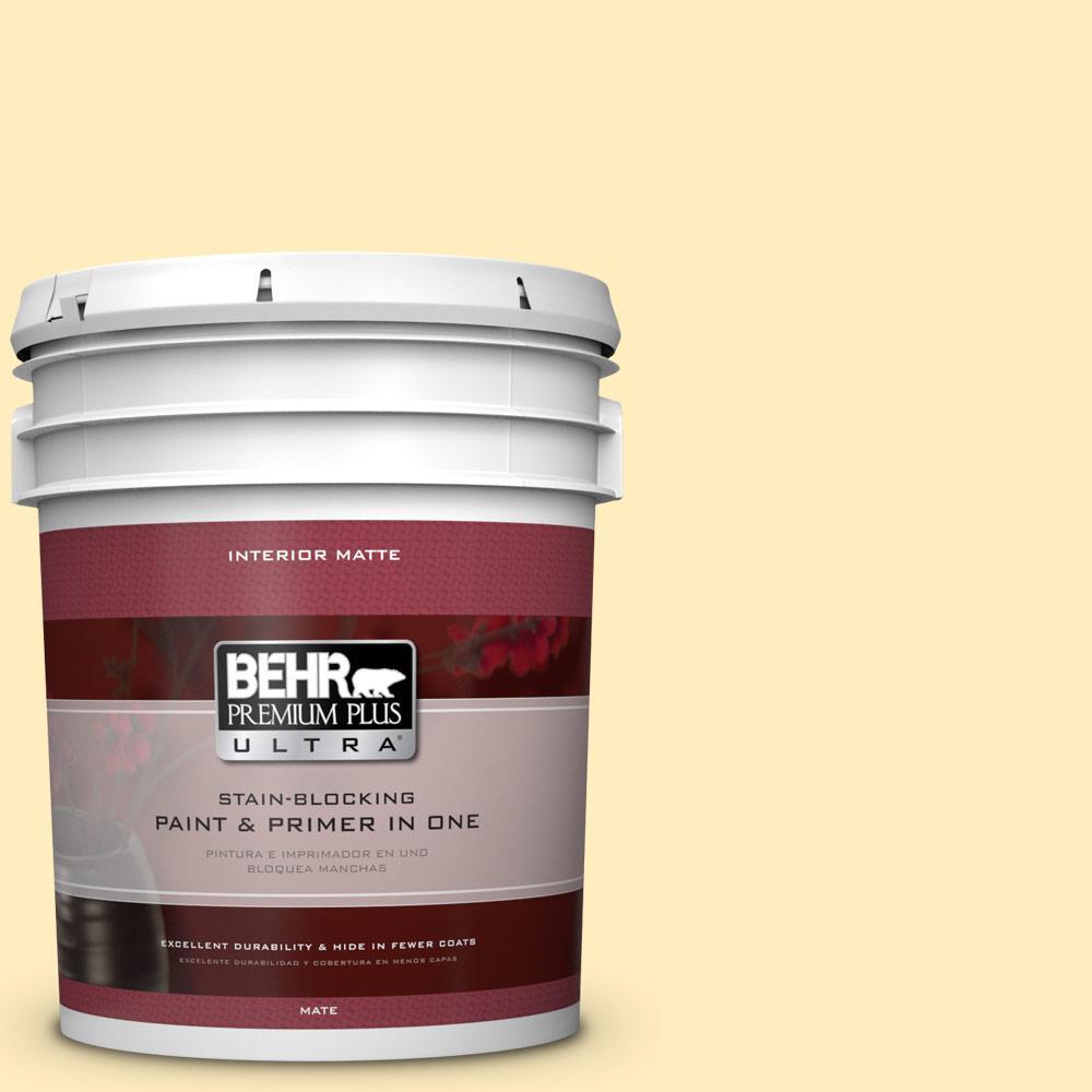 BEHR Premium Plus Ultra 5 gal. #P290-1 Soft Buttercup Matte Interior Paint