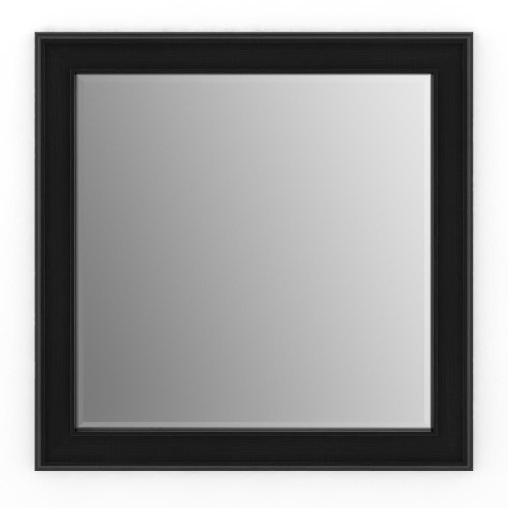 Delta 33 in. x 33 in. (L2) Square Framed Mirror with Deluxe Glass and Flush Mount Hardware in Matte Black
