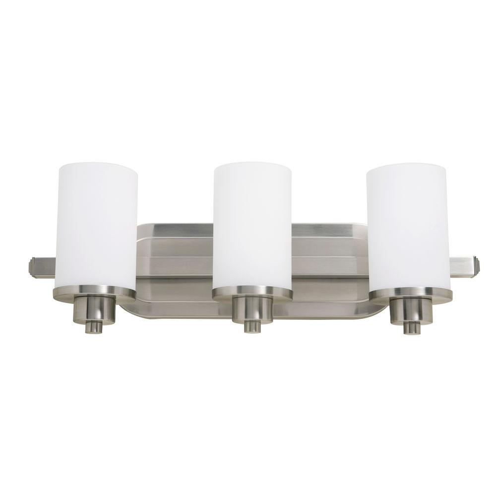 ARTCRAFT Parkdale 3-Light Polished Nickel Bath Vanity Light Parkdale 3 lite bathroom vanity features its clean and simple design complimented with opal white glassware in polished nickel finish