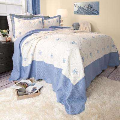 Brianna Embroidered Blue Polyester Twin Quilt