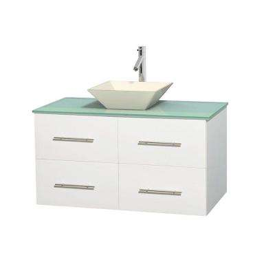 Centra 42 in. Vanity in White with Glass Vanity Top in Green and Bone Porcelain Sink