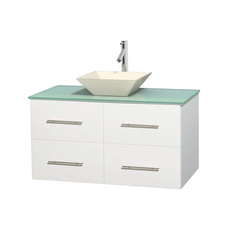 Wyndham Collection Centra 42 in. Vanity in White with Glass Vanity Top in Green and Bone Porcelain Sink