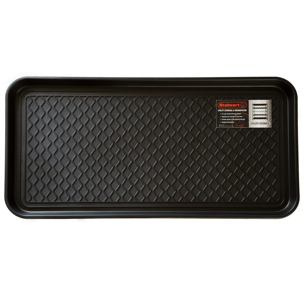 stalwart black 15 in x 30 in eco friendly polypropylene utility boot tray mat m220008 the. Black Bedroom Furniture Sets. Home Design Ideas