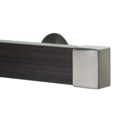 Kontur Wood 106 in. Non-Adjustable Single Traverse Window Curtain Rod Set in Chocolate with Stainless Endcap