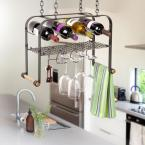 Hammered Steel Hanging Wine Glass and Accessories Rack