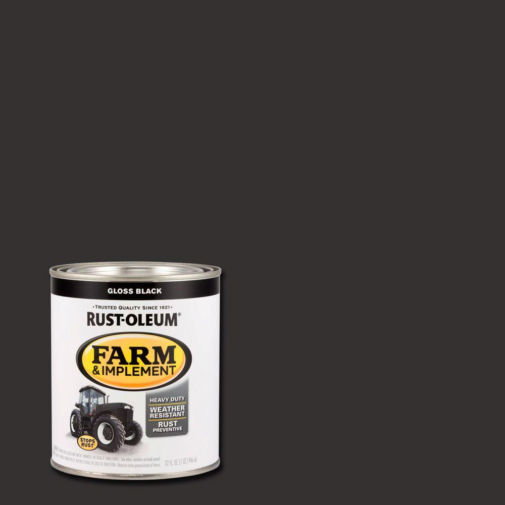 1 qt. Farm & Implement Gloss Black Enamel Paint (2-Pack)