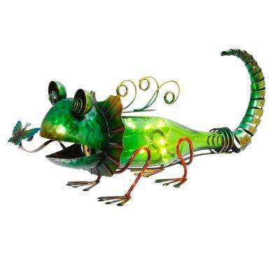 16.5 in. L Solar Powered Green Metal and Glass Lizard Figurine