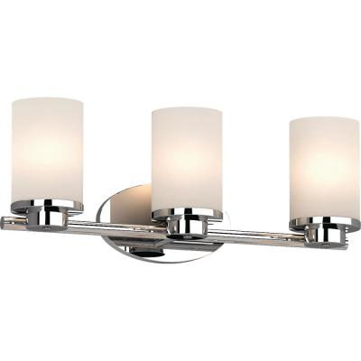 Sharyn 3-Light 8.25 in. Chrome Indoor Bathroom Vanity Wall Sconce or Wall Mount with Frosted Glass Cylinder Shades