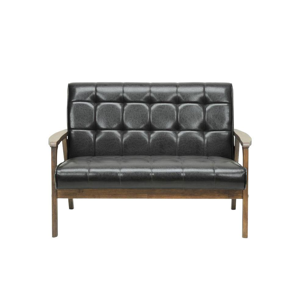 Amazing Baxton Studio Masterpiece Mid Century Dark Brown Faux Leather Upholstered  Loveseat