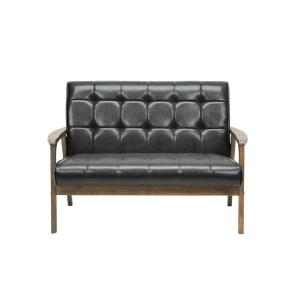 Baxton Studio Masterpiece Mid-Century Dark Brown Faux Leather Upholstered Loveseat by Baxton Studio