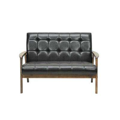 Masterpiece Mid-Century Dark Brown Faux Leather Upholstered Loveseat