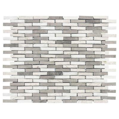 Whispering Cliffs Grey Limestone/White 10.625 in. x 12.25 in. x 10 mm Interlocking Marble Mosaic Tile