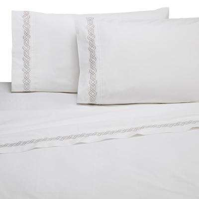 Embroidered Trellis Gray Cotton Twin Sheet Set