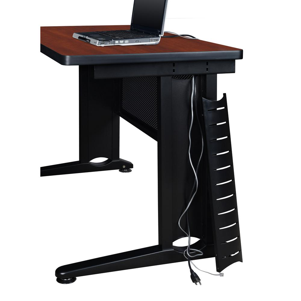 Fusion 72 in. x 42 in. Cherry Double Pedestal L-Desk with
