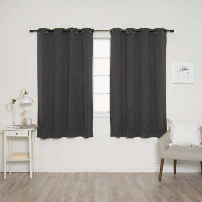63 in. L Onyx Grommet Blackout Curtains in Dark Grey (2-Pack)