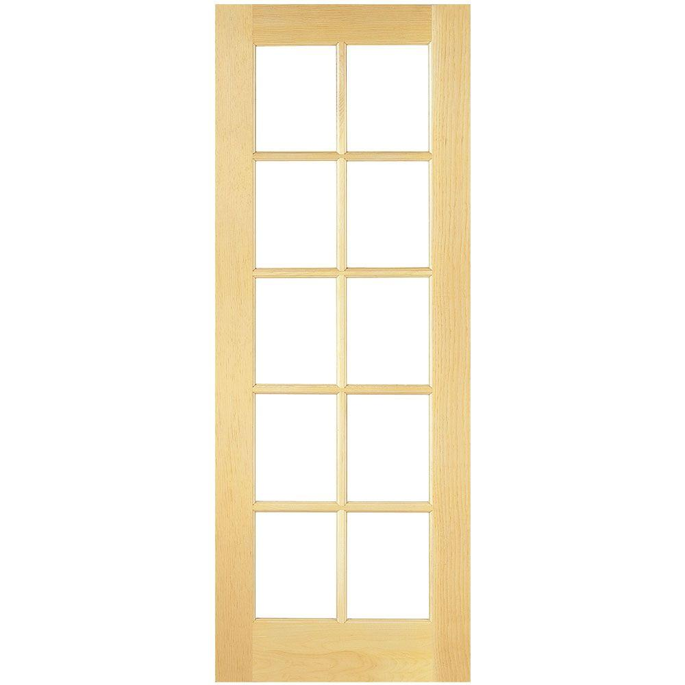 24 in. x 80 in. 10-Lite Solid-Core Smooth Unfinished Pine Veneer