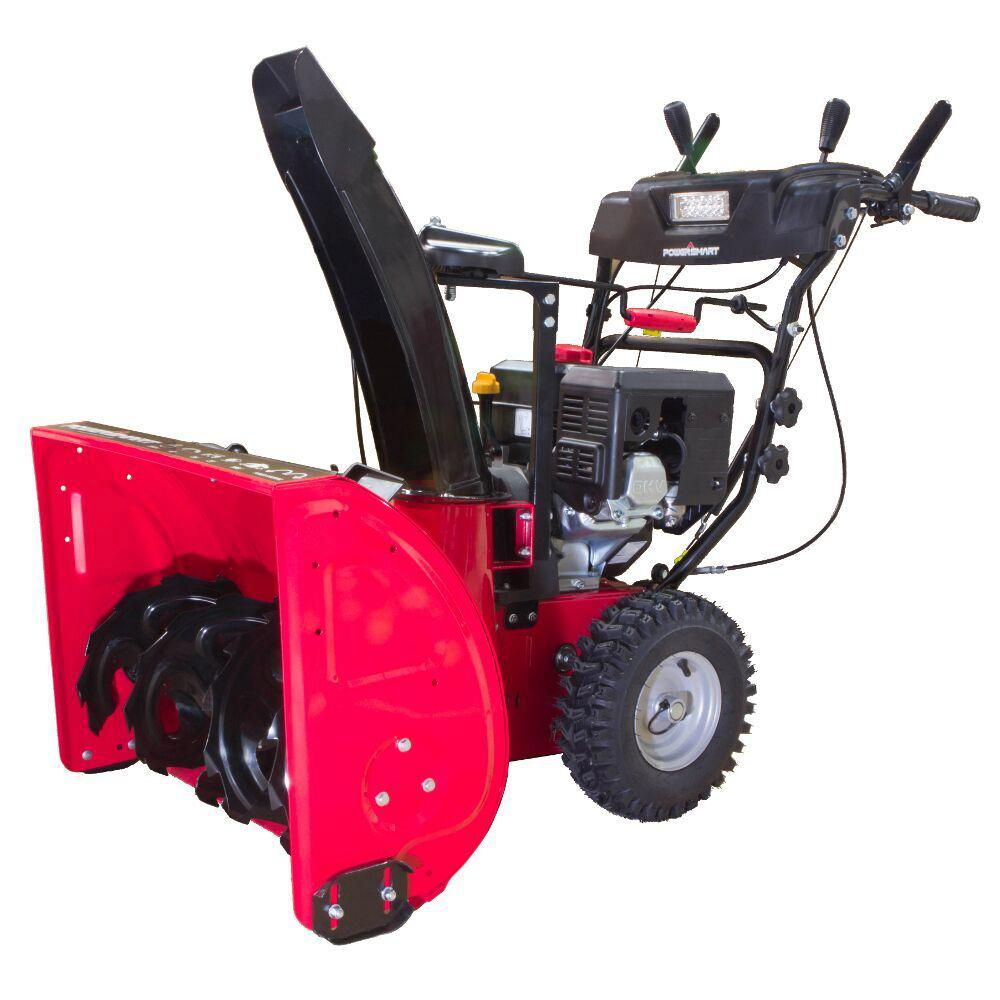 PowerSmart 24 in. 212cc Two Stage Electric Start Gas Snow Blower with Headlight