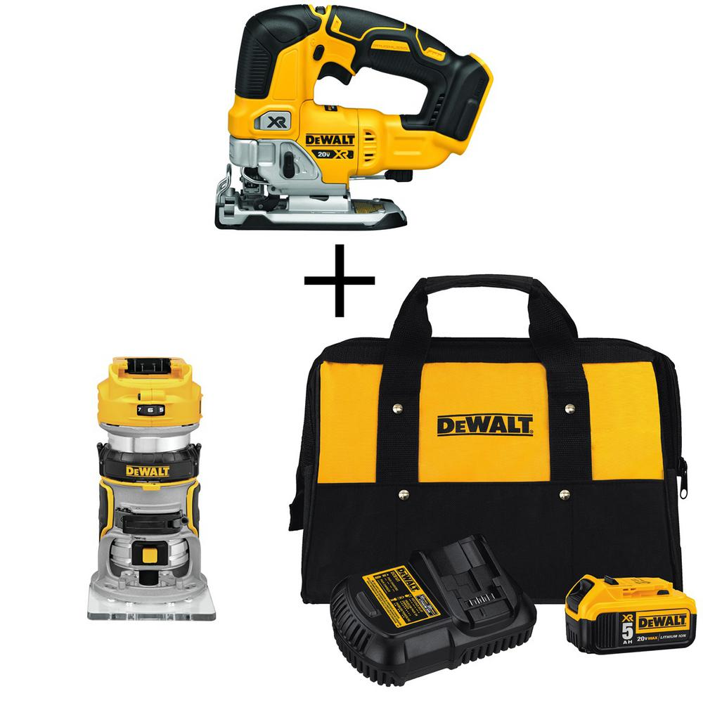 DEWALT 20-Volt MAX Li-Ion Cordless Brushless Jigsaw (Tool-Only) with Brushless Router (Tool-Only), Battery 5Ah, Charger and Bag