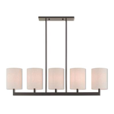 Hayworth 5-Light Bronze Linear Chandelier with Oatmeal Color Fabric Outside and White Fabric Inside Hardback Shade