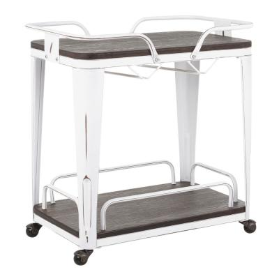 Oregon Vintage White Metal and Espresso Wood Bar Cart