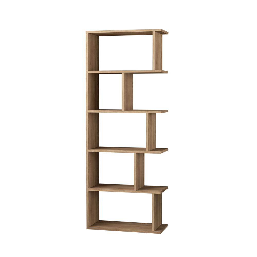 Ada home decor bayside oak mid century modern bookcase dcrb2054 the home depot