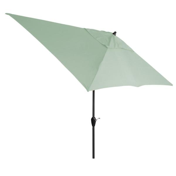 10 ft. x 6 ft. Aluminum Market Patio Umbrella in Sunbrella Canvas Spa with Push-Button Tilt