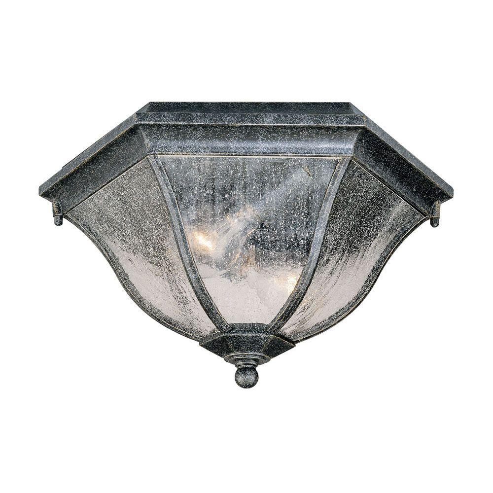 Acclaim Lighting Flushmount Collection Ceiling-Mount 2-Light Outdoor Stone Light Fixture