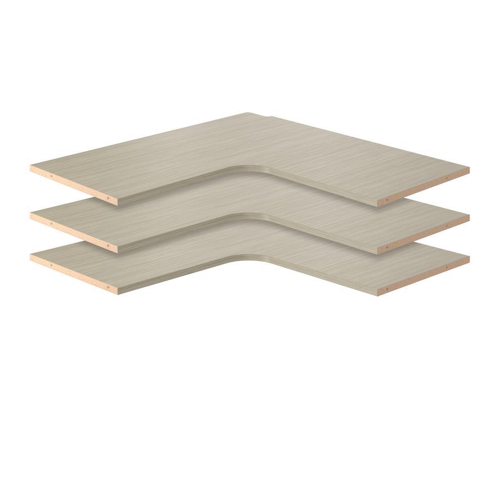 30 in. D x 30 in. W Rustic Grey Wood Corner Shelf (3-Pack)