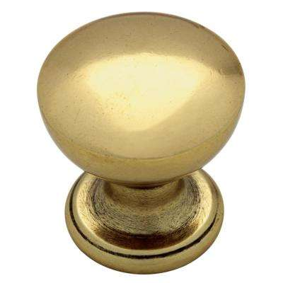 Goblet 1in. (26mm) Bedford Brass Round Cabinet Knob (12-Pack)