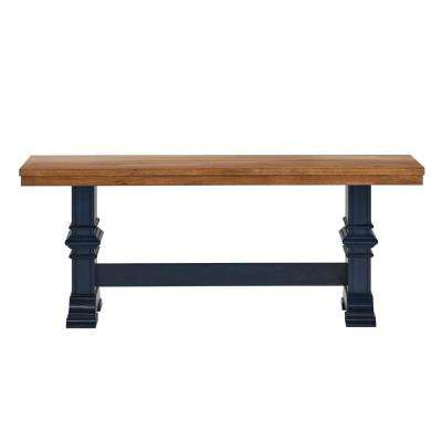 Two Tone Oak And Antique Denim Dining Bench With Trestle Leg