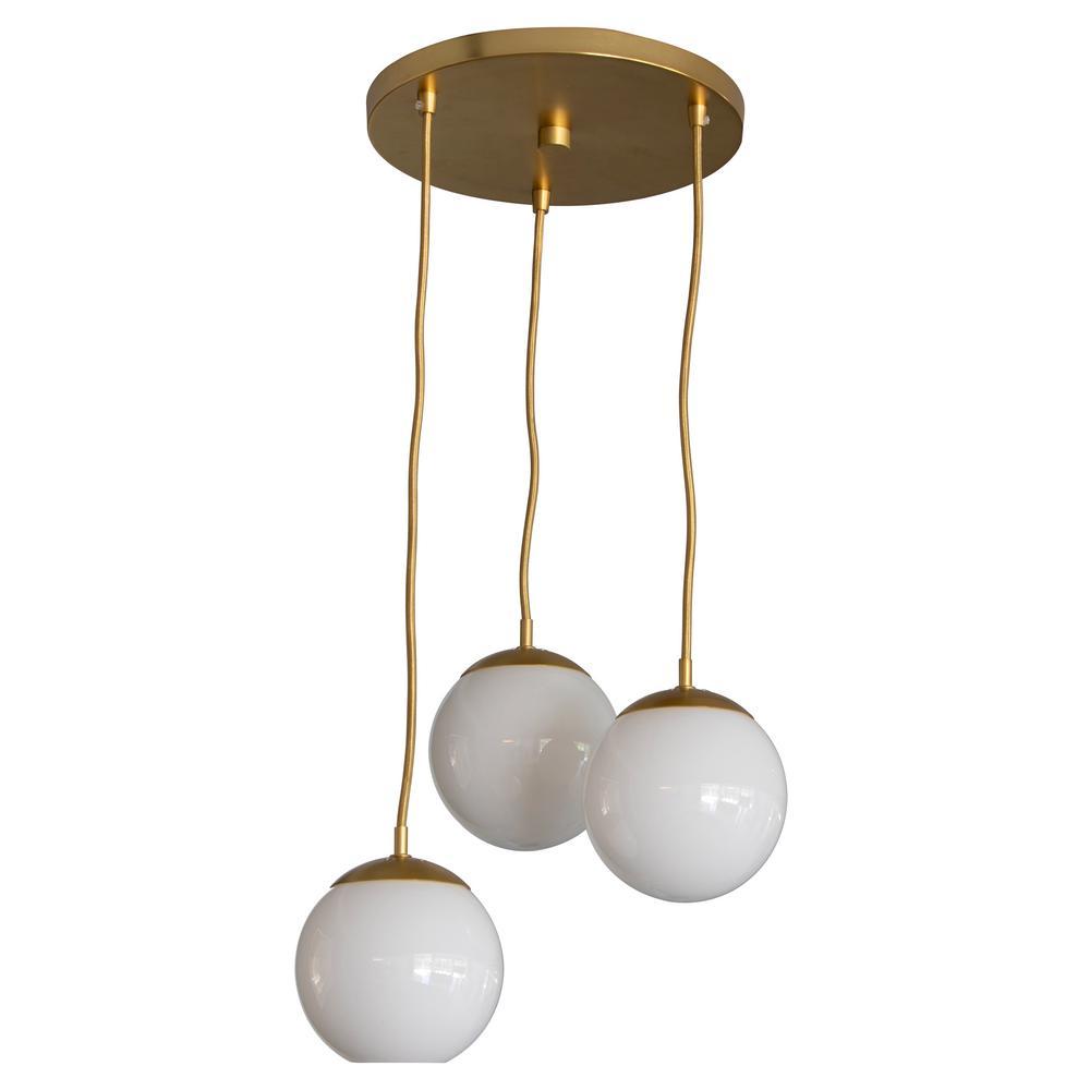 Michael 3-Light Antique Brass with Milk Glass Pendant