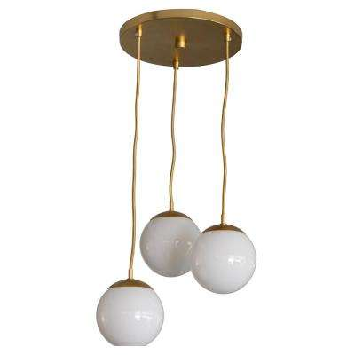 Michael 3-Light Antique Brass with Milk Glass Pendant