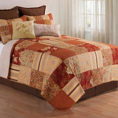 Orange Amber Twin Quilt Set
