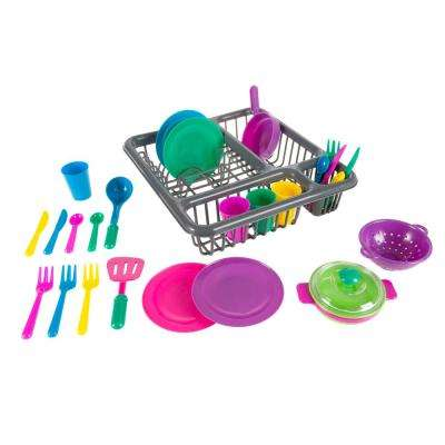 Pretend Play Tableware Dish Set with Dish Drainer (27-Piece)