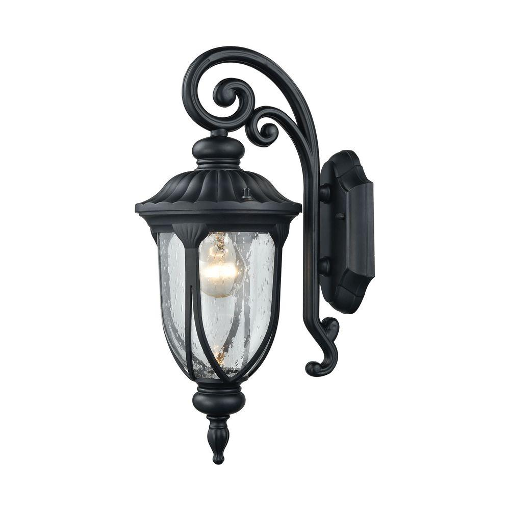 Titan lighting portside outdoor matte black wall sconce tn 5277 the home depot for Black exterior sconce